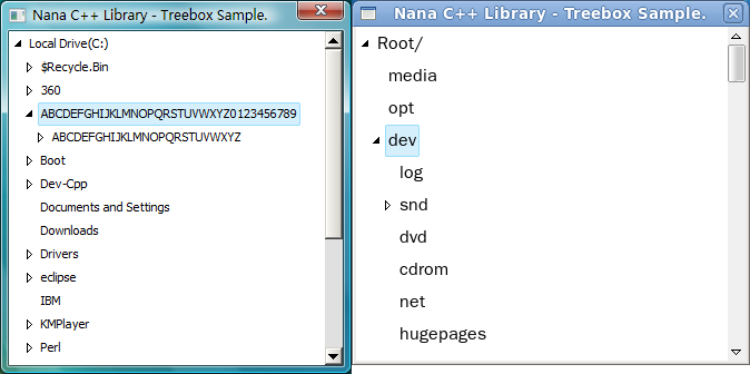 Nana C++ Library  Reference for users : folder_tree cpp